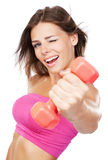 Beautiful slim woman with dumbbells Stock Photos