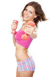 Beautiful slim woman with dumbbells Stock Images