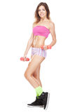 Beautiful slim woman with dumbbells Royalty Free Stock Photography