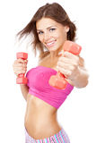 Beautiful slim woman with dumbbells Stock Image