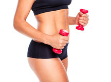 Beautiful slim woman with dumbbells, isolated on white Royalty Free Stock Photo