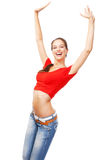 Beautiful slim woman isolated on white background Stock Photography
