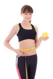 Beautiful slim woman with measure tape and apple isolated on whi Royalty Free Stock Photos