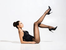 Beautiful, slim woman posing in alluring underwear Royalty Free Stock Photos
