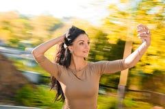 Beautiful slim woman selfie Stock Images
