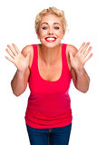 Beautiful Slim Woman With Suprised Winning Smile Stock Photography