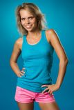 Beautiful slim woman in a t-shirt stock photos