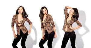 Beautiful slim woman in three positions.jpg. Beautiful slim woman in a leopard jacket in three positions Royalty Free Stock Image
