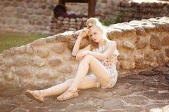 Beautiful slim woman in the village Stock Photos