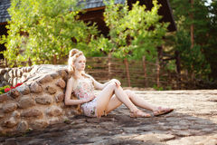 Beautiful slim woman in the village Royalty Free Stock Images