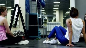 Beautiful Slim Women Are Resting Between Sets. During Training. Concept Of Strong And Enduring Sports Women stock video