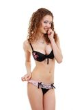 Beautiful slim young woman in underwear Royalty Free Stock Images