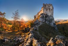 Beautiful Slovakia landscape at autumn with Uhrovec castle ruins. At sunset royalty free stock photos