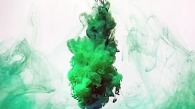 Beautiful slow motion green watercolor ink on a white background