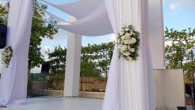 Beautiful slow-motion shot video HD of the Jewish Hupa , wedding putdoor . Beautiful video 4k of the Jewish Hupa with conducting of the camera from below in top stock video