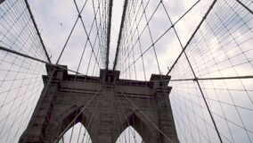 Metal grid on Brooklyn Bridge, new york city, USA 1080p