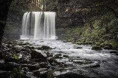 Beautiful slow shutter speed on waterfalls in south wales Royalty Free Stock Image