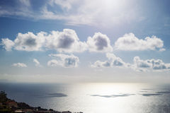 Beautiful small clouds over sea water surface with blue sky stock images