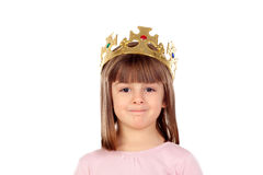 Beautiful small girl with golden crown of princess Stock Image
