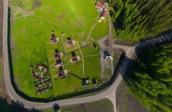 Beautiful small green village from above Stock Photo