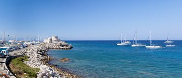 Beautiful small harbour Rhodos island, Greece Stock Photo