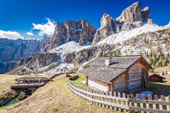Beautiful small mountain hut in the dolomites, Italy Royalty Free Stock Photo
