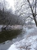 River Sysa and snowy trees in winter, Lithuania Stock Photo