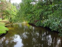 Beautiful small river and trees, Lithuania royalty free stock images