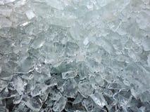 Natural spring ice pieces near lake shore, Lithuania Stock Photo