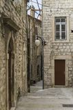 Beautiful small street with architectures and buildings in the town of Sibenik in Croatia. Sibenik Croatia, September 10 2017, Nice autumn day in the city Royalty Free Stock Image