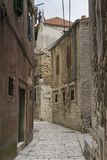 Beautiful small street with architectures and buildings in the town of Sibenik in Croatia. Sibenik Croatia, September 10 2017, Nice autumn day in the city Stock Images