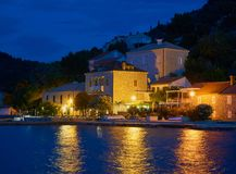 Beautiful small village at night royalty free stock image