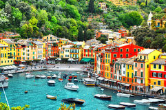 The beautiful small village Portofino with colorfull houses, luxury boats and yacht in little bay harbor. Royalty Free Stock Image