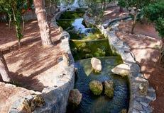 Beautiful small waterfall with cascades in Reina Sofia Park, Guardamar del Segura. Valencia, Spain. Royalty Free Stock Photos