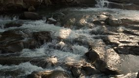 Beautiful small waterfall in forest stock footage