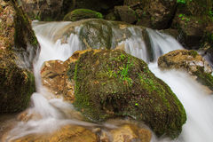 Beautiful small waterfall landscape in the mountains. Beautiful small waterfall landscape in the mountains with lush green bush, rocks and flowing water Royalty Free Stock Images