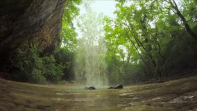 Beautiful Small Waterfall In Wild Crimea Forest stock footage