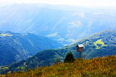 Beautiful small wood house in the Alps Stock Photo