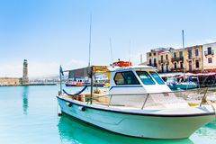 Yacht in the harbor of Rethymno Royalty Free Stock Photo