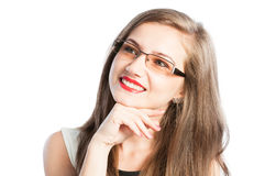Beautiful and smart business woman with glasses thinking Stock Photography