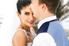 Beautiful smile amazing newlyweds portait Stock Photo