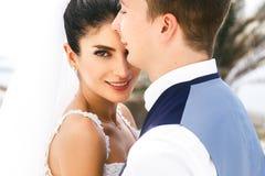 Beautiful smile amazing newlyweds portait. Beautiful smile amazing newlyweds portrait Stock Photo