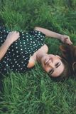 Beautiful smile girl in park stock photos