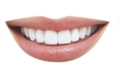 Beautiful Smile With Healthy Teeth. Closeup of beautiful smile with healthy teeth on white background Stock Photos