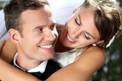 Beautiful smile from romantic couple Royalty Free Stock Images