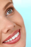 Beautiful Smile. Smiling Woman Face With White Teeth, Full Lips Royalty Free Stock Photos