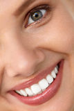 Beautiful Smile. Smiling Woman Face With White Teeth, Full Lips. Beautiful Smile. Closeup Of Beautiful Happy Smiling Woman With White Teeth And Fresh Face Stock Image