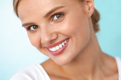 Beautiful Smile. Smiling Woman With White Teeth Beauty Portrait. Beautiful Smile. Closeup Portrait Of Beautiful Happy Young Woman With Perfect White Teeth royalty free stock images