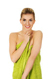 Beautiful smile woman after bath or spa. Beautiful smile woman after bath or spa, covered with green towel Royalty Free Stock Photo