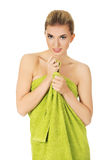 Beautiful smile woman after bath or spa. Royalty Free Stock Photography